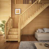 Маршевая лестница из натурального дерева