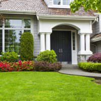 Травяной газон в палисаднике частного дома