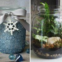 Декоративное наполнение стеклянных банок для украшения интерьера
