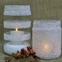 Декор банок белым песком