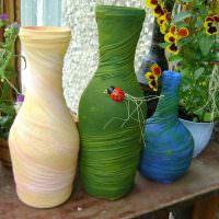 Украшение стеклянных ваз своими руками
