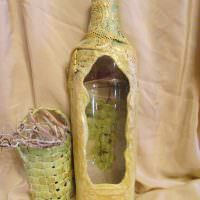 Оклейка бутылки старой занавеской