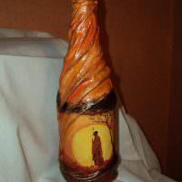 Декор бутылки в африканском стиле