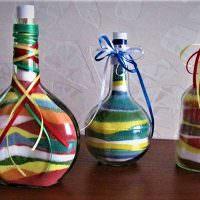 Декорирование бутылок с помощью цветного песка