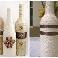 Красивое оформление подарочных бутылок с помощью бечевки