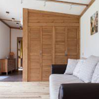Шкаф с деревянными дверцами в светлой гостиной