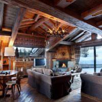 Гостиная в стиле альпийского шале