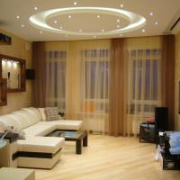 Круг со светодиодной подсветкой на потолке гостиной