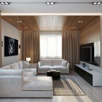 Коричневый цвет в дизайне гостиной