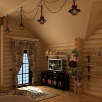 Красивые подвесные светильники в срубом доме