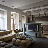 Стойка из бетона для телевизора в гостиной