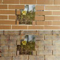Идея декорирования стены под кирпич из картона