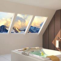 Дизайн ванной комнате в мансарде загородного дома