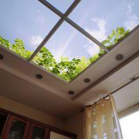 Ясное небо на потолке жилой комнаты