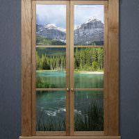 Живописный пейзаж в деревянном окне
