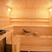 Полки в три яруса в частной бане