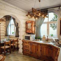Мини-кухня в бревенчатой бане