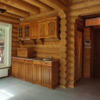 Кухонный гарнитур в срубовой бане