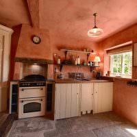 Кухня сельского дома с выходом во двор