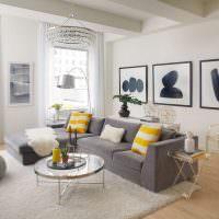 Зонирование гостиной серым ковром