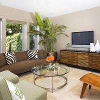 Растения в интерьере гостиной частного дома