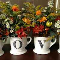 Английские буквы на цветочных горшках