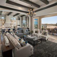 Дизайн гостиной в оттенках серого цвета