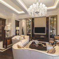 Дизайн гостиной с двухуровневым потолком