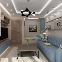 Двухуровневый потолок в небольшой гостиной
