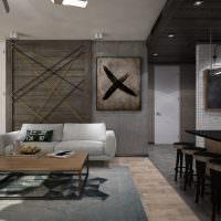 Дизайн гостиной комнаты в темных тонах