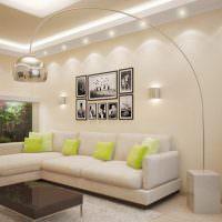 Светло-зеленые подушки на белом диване