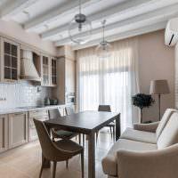 Бежевая мебель в современной кухне