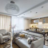 Дизайн модной кухни-гостиной