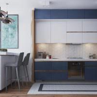Синяя кухня в стиле минимализма
