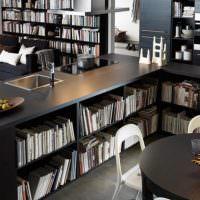 Кухонная мебель с полками для книг