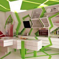 Бело-зеленый кухонный гарнитур нестандартной формы