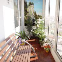 Лавочка для отдыха на застекленном балконе
