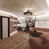 Коричневый пол в квартире-студии