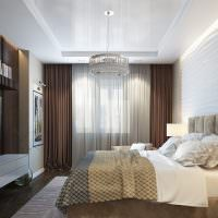 Стеклянная люстра на потолке спальни