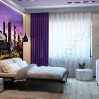 Ночной город на фотообоях в спальне