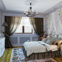 Дизайн спальни с темными шторами