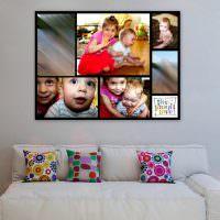 Панно из цветных фотографий детей на стене в гостиной