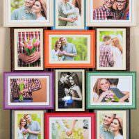 Семейные фотоснимки в разноцветных рамках