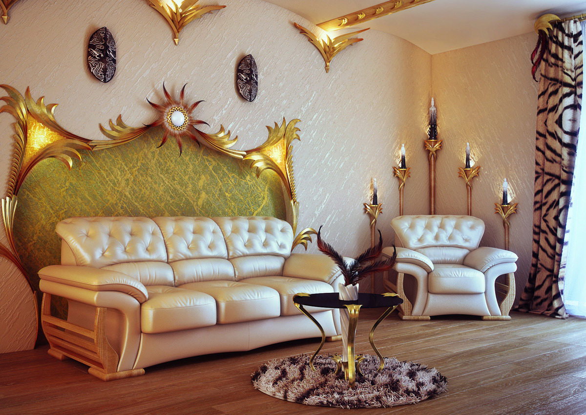Золотистые предметы декора в гостиной стиля модерн
