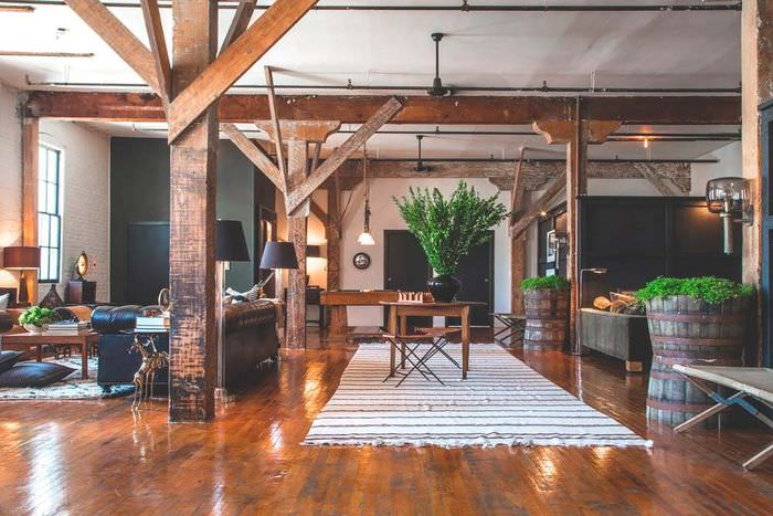 Дизайн просторной гостиной в стиле лофт