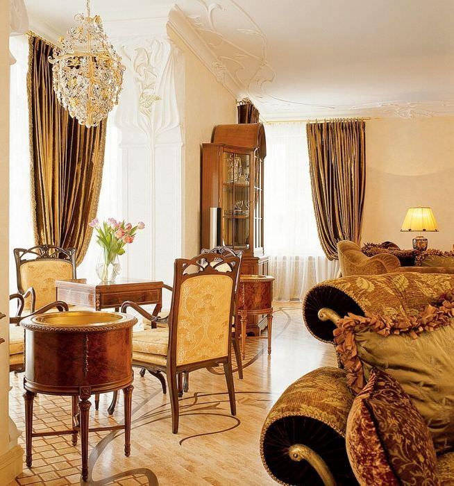 Интерьер красивой гостиной в стилистике модерна