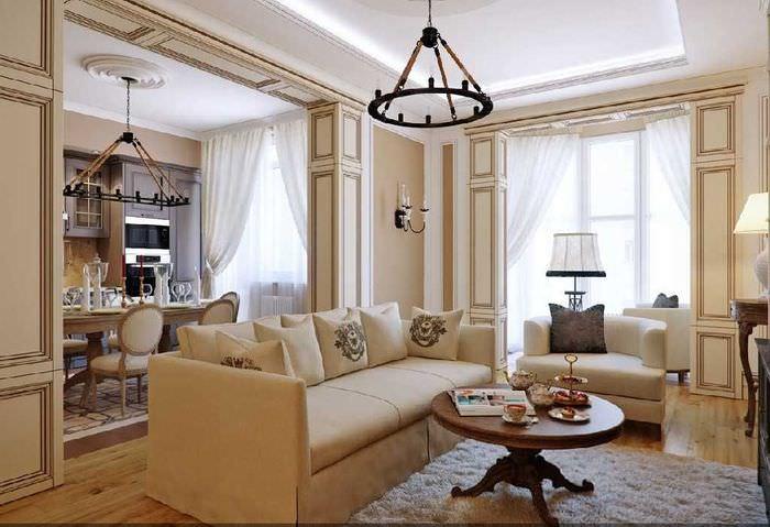 Интерьер итальянской гостиной в квартире панельного дома