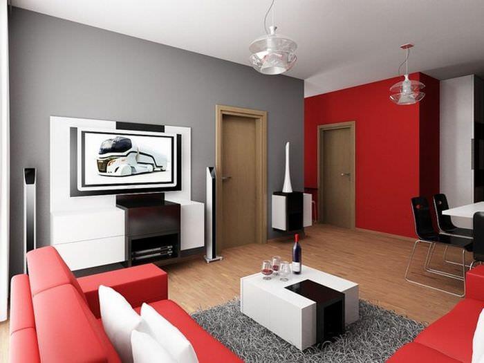 Красный цвет в интерьере гостиной в стиле хай-тек