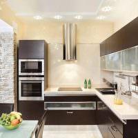 Потолок кухни со встроенными светильниками
