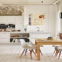 Обеденная зона в скандинавской кухне